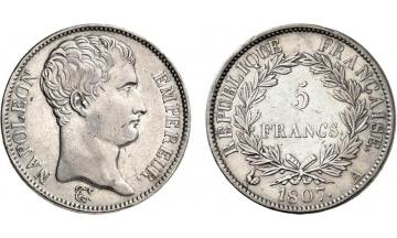 France, First Empire, Napoleon Bonaparte, 1804-1814, 5 Francs 1807, Paris