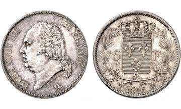 France, Restoration, Louis XVIII, 1814-1824, 5 Francs 1816, Lille