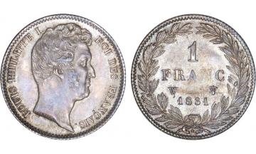 France, Restoration, Louis-Philippe I, 1830-1848, 1 Franc 1831, Lille