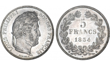 France, Restoration, Louis-Philippe I, 1830-1848, 5 Francs 1834, Paris