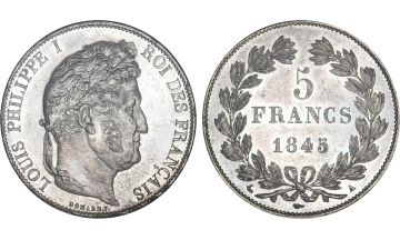 France, Restoration, Louis-Philippe I, 1830-1848, 5 Francs 1845, Paris