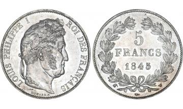France, Restoration, Louis-Philippe I, 1830-1848, 5 Francs 1845, Lille