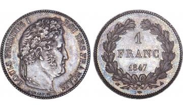 France, Restoration, Louis-Philippe I, 1830-1848, 1 Franc 1847, Paris