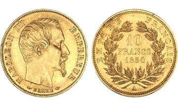France, Second Empire, Napoleon III, 1852-1870, 10 Francs 1854, Paris