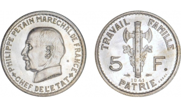 France, Fourth Republic, 5 Francs 1941 M, ESSAY by Bazor in PF