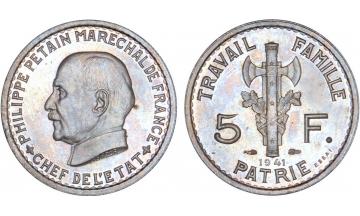 France, Fourth Republic, 5 Francs 1941, ESSAI by Bazor in PF