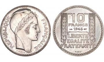 France, Fourth Republic, 10 Francs 1945, ESSAI by Turin