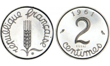 France, Fifth Republic, 2 Centimes 1961, ESSAI