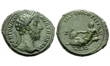 Roman Empire, Marcus Aurelius augustus, 161–180, As December 174 - Autumn 175, Rome, from the Walters-Webb collection