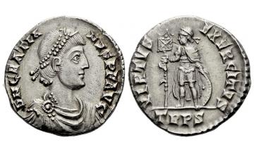 Roman Empire, Gratian, 367–378, Light miliarense 375-378, Treveri