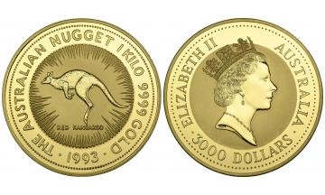 Australia, Elizabeth II, since 1952, 3.000 Dollars 1993, 1 Kilo