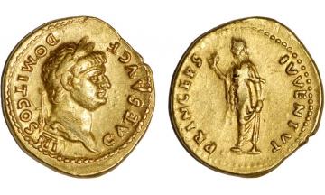 Roman Empire, Domitian as Caesar under Vespasian, 69-79, Aureus, Rome