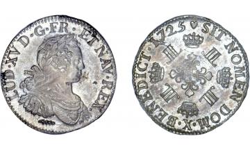 France Kingdom, Louis XV the Well-Beloved, 1715-1774, 1/2 Ecu 1725, Amiens