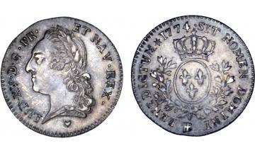 France Kingdom, Louis XV the Well-Beloved, 1715-1774, 1/5 Ecu 1774, Strasbourg