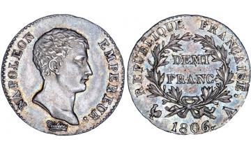 France, First Empire, Napoleon Bonaparte, 1804-1814, 1/2 Franc 1806, Paris