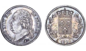 France, Restoration, Louis XVIII, 1814-1824, 1/2 Franc 1823, Paris