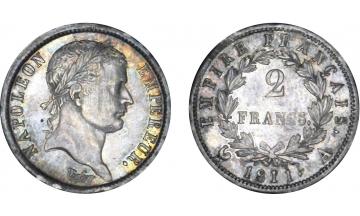 France, First Empire, Napoleon Bonaparte, 1804-1814, 2 Francs 1811, Paris
