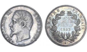 France, Second Empire, Napoleon III, 1852-1870, 2 Francs 1853, Paris