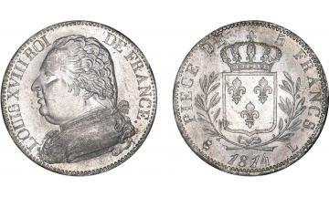 France, Restoration, Louis XVIII, 1814-1824, 5 Francs 1814, Bayonne