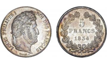 France, Restoration, Louis Philippe I, 1830-1848, 5 Francs 1834, Lille