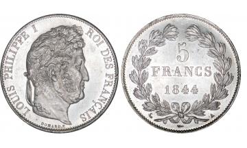 France, Restoration, Louis Philippe I, 1830-1848, 5 Francs 1844, Paris