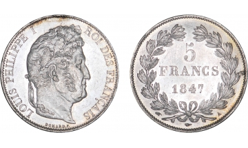 France, Restoration, Louis Philippe I, 1830-1848, 5 Francs 1847, Paris