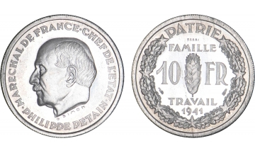 France, Fourth Republic, 1940-1959, 10 Francs 1941, ESSAI by Simon