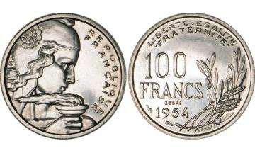 France, Fourth Republic, 1940-1959, 100 Francs 1954, ESSAI by Cochet
