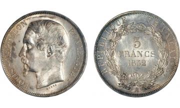 France, Second Republic, 1848-1852, Louis-Napoleon Bonaparte, President, 5 Francs 1852, Paris
