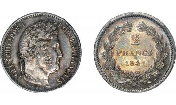 France, Restoration, Louis Philippe I, 1830-1848, 2 Francs 1841, Paris