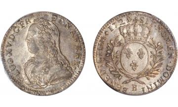 France Kingdom, Louis XV the Well-Beloved, 1715-1774, 1/2 Ecu 1729, Rouen