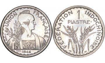 France, Colonial Coinage, Indochina, 1 Piastre 1946, ESSAI, rare