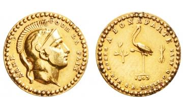 FRANCE, Napoleon Bonaparte, premier Consul, 1799-1804, Gold Medal (Quinaire) 1803, Original Strike