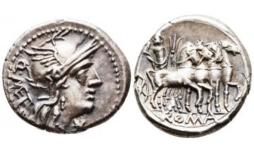 ROMAN REPUBLIC, Q. Caecilius Metellus. 130 BC, Denarius, Rome, Charming toning