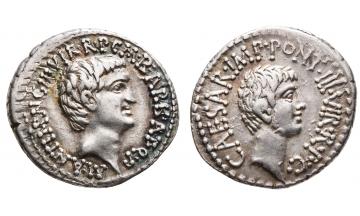 Roman Republic, The Triumvirs. Mark Antony and Octavian, Spring-early Summer 41 BC, Denarius, Ephesus, Good portraits