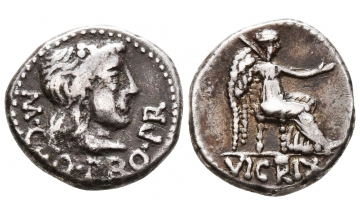 ROMAN REPUBLIC, The Pompeians. M. Porcius Cato. Spring 47- Spring 46 BC. , Quinarius, Utica, Charming toning