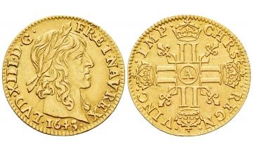 France Kingdom, Louis XIII, 1610-1643, 1/2 Louis d'or 1643 A, Paris
