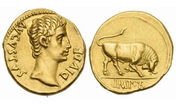 Roman Empire, Octavian as Augustus, 27 BC – 14 AD, Aureus, Lugdunum