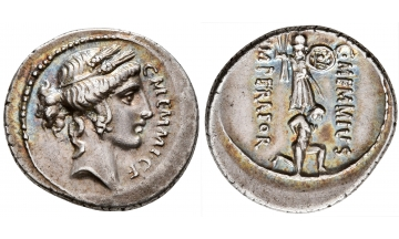 Roman Republic, C. Memmius C.f. 56 BC, Denarius, Rome, Charming patina and details