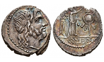 Roman Republic, Cn. Lentulus Clodianus. 88 BC, Quinarius, Rome, Charming portrait and toning