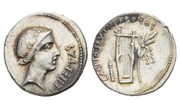 Roman Republic, M. Iunius Brutus, Denarius 42 BC, Lycian mint