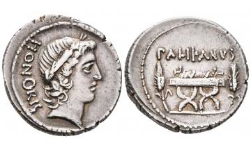 Roman Republic, Lollius Palicanus, 45 BC., Denarius, Rome, Well centered