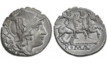 Rome, Anonymous series with staff, Denarius, 209-208, Sicily