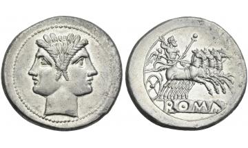Anonymous, Quadrigatus circa 225-214, Rome