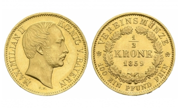 Bavaria, Maximilian II. (1848-1864), 1/2 Vereinskrone, 1859