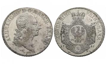 Brandenburg in Franken, Chr. Friedrich Karl Alexander (1757-1791), Kon. Taler , 1785, Schwabach