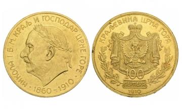 Montenegro, Nikolaus I. (1860-1918), 100 Perpera, 1910, Vienna