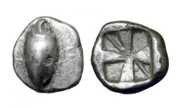 Boeotia, Orchomenos, Obol ca. 525-500 BC