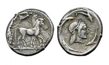 Sicily, Syracuse, Deinomenid Tyranny, struck under Hieron I ca. 478-475, Tetradrachm